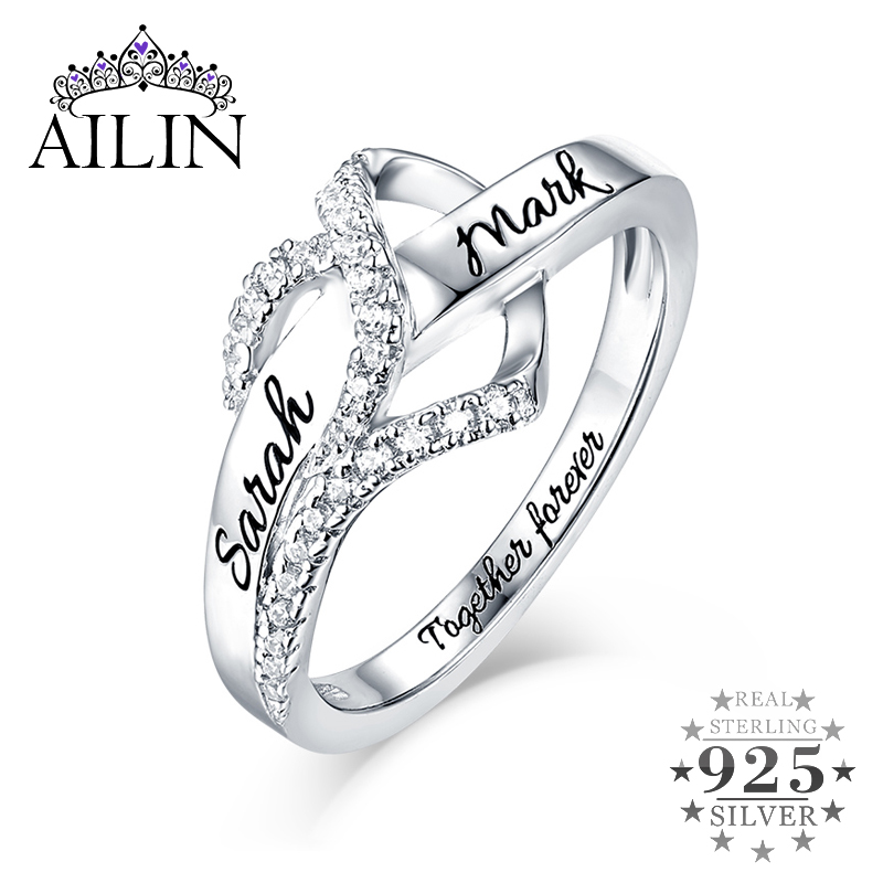 Wholesale Engraved Sterling Silver Birthstone Twisted Ring Dor Women Engraved Love Ring For Lady Fashion Valentine's Day Gift