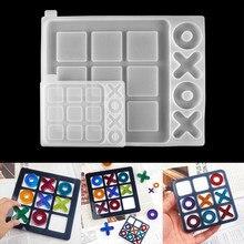 2 rozmiary OX szachy gra lustro silikonowe formy odlewnicze Tic-Tac-Toe formy dla DIY żywica UV epoksydowa biżuteria narzędzia Craft Handmade Making