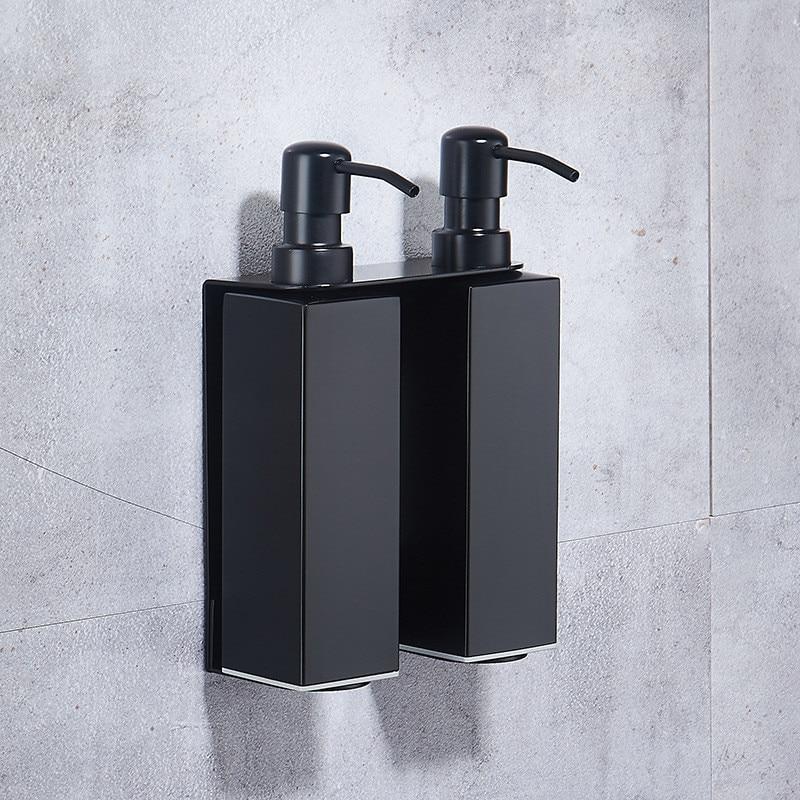 Черный диспенсер для жидкого мыла диспенсер для шампуня для отеля с держателем для стаканов бумажный держатель настенная полка аксессуары ...