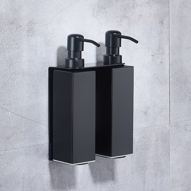 Black Liquid Soap Dispenser Shampoo Dispenser For Hotel With Cup Holder Paper Holder Wall Shelf Bathroom Accessories For Hotel