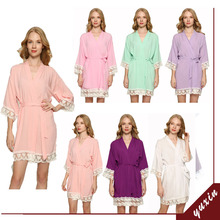 2019 Summer Women New Cotton Solid Sexy Lace Robe Bride Gown Bridesmaid Robes Wedding Fashion