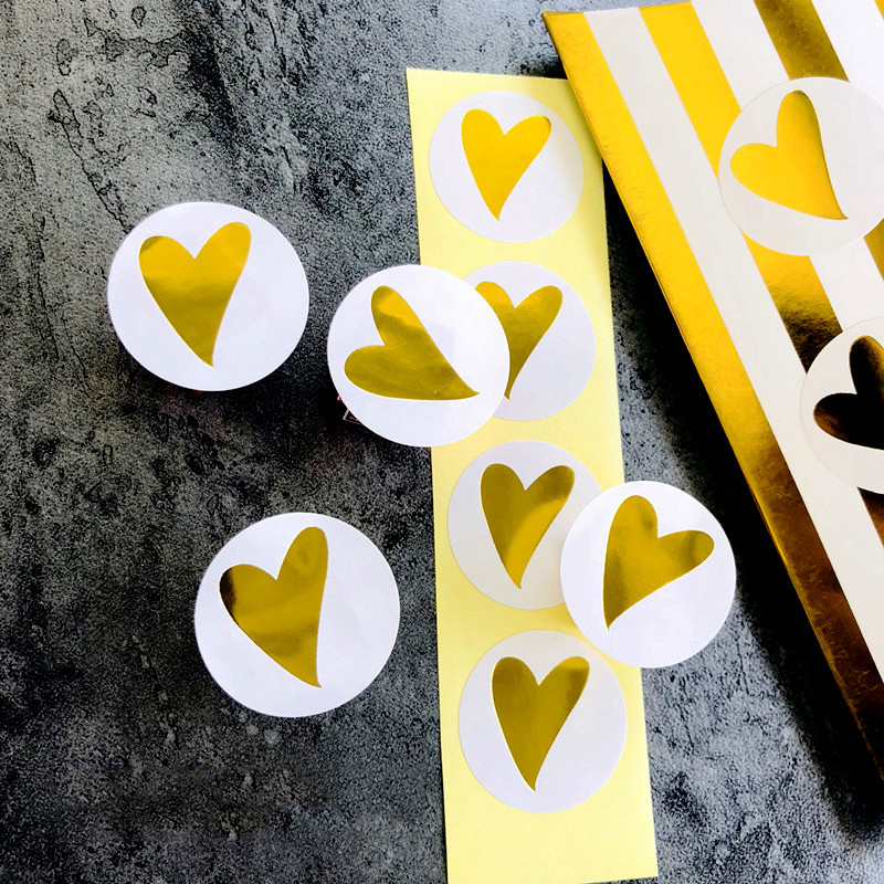 160 Pcs/Lot Round Gold Heart Adhesive Sticker Cute Sealing Label Sticker For Birthday Cards Envelope Gifts Decoration Stationery