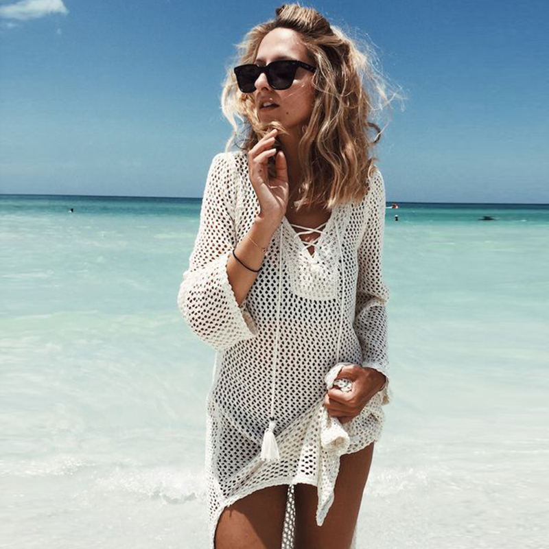 New Knitted Beach Cover Up Women Bikini Swimsuit Cover Up Hollow Out Beach Dress Tassel Tunics Bathing Suits Cover-Ups Beachwear 12