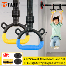 TMT Kids Gymnastic Rings Plastic with Adjustable Strap Hand Tapes Children Gym Pull up Fitness Strength Training Indoor Crossfit