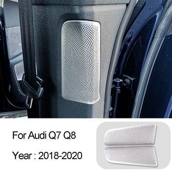 Pegatina de cubierta embellecedora de altavoz de Audio de pilar central de diseño de coche para Audi Q7 Q8 2018-2020 accesorios interiores de acero inoxidable