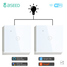 Bseed 2 pacotes wi fi interruptor de toque 1gang 1/2/3 vias interruptor de luz parede inteligente interruptores sem fio alexa tuya casa interruptor 3 posições