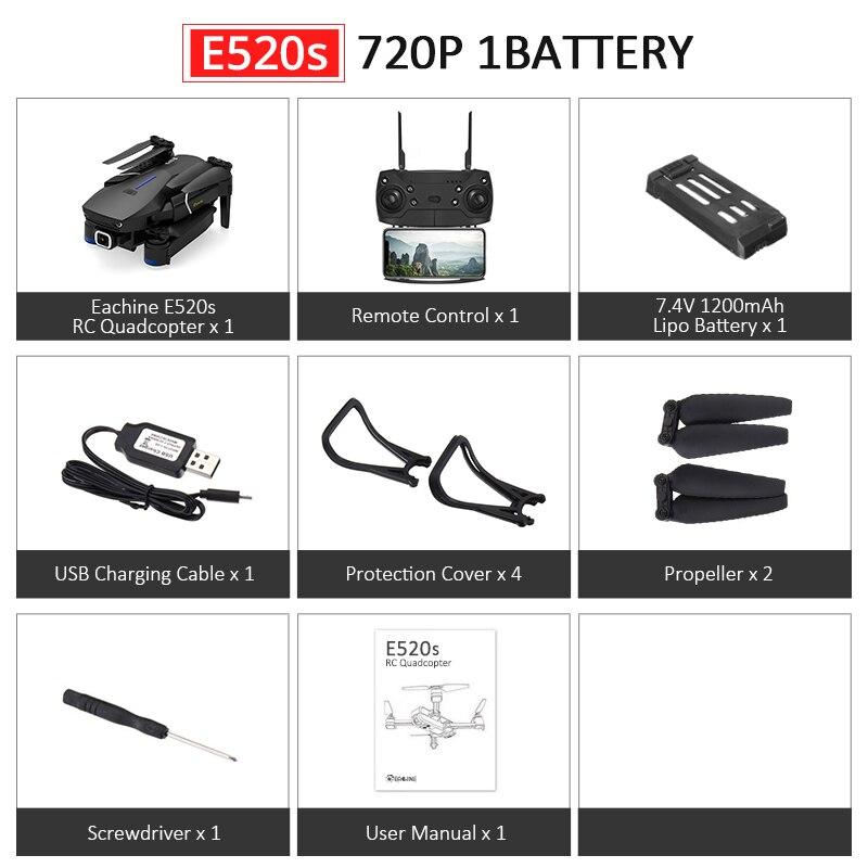 Eachine E520S E520 gps FOLLOW ME wifi FPV Квадрокоптер с 4 K/1080 P HD широкоугольная камера Складная Высота удержания прочный Радиоуправляемый Дрон - Цвет: E520S 720P 1B