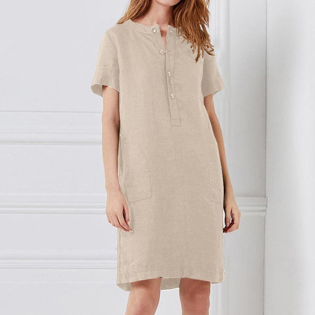 Solid Color Cotton And Linen Summer Dress Women Vintage O Neck Button Pocket Knee Dress Casual
