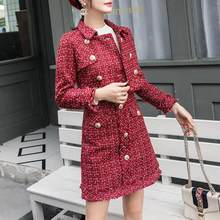 Suits Women Runway Designer Elegant Office Lady Formal Tweed Red Blazer Jacket Mini Skirt 2 Piece Sets 2020 Autumn Winter(China)