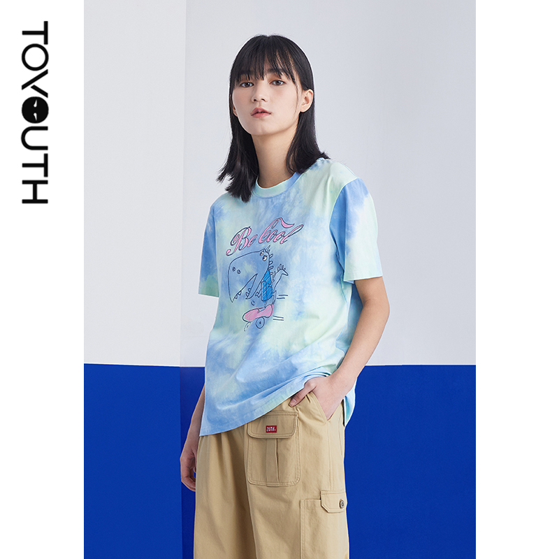 Toyouth mulheres camisetas 2021 verão manga curta em torno do pescoço solto camiseta tie dye impressão dos desenhos animados azul rosa chique topos
