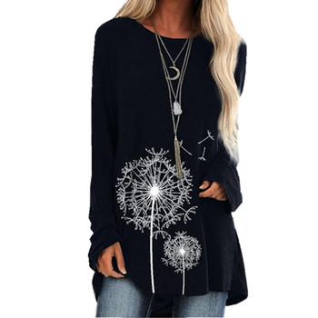 3D Dandelion Print Long Sleeve T-Shirt Women Casual O-Neck Autumn Tee Cotton Black Top Ladies Loose T-Shirt Plus Size 4XL 5XL long sleeve plus size palm print asymmetrical t shirt