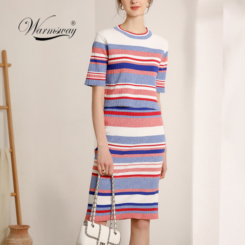Luxury Designer Brand Womens Striped Knitted Skirt Two Piece Sets High Waist Bodycon Skirts Half-sleeve Top+Skirt Suit  C-488