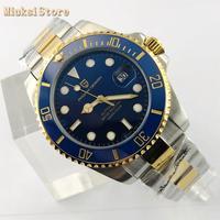 PAGANI DESIGN 43mm mens waterproof watches sapphire glass date ceramic bezel blue dial luminous NH35A movement mens watch