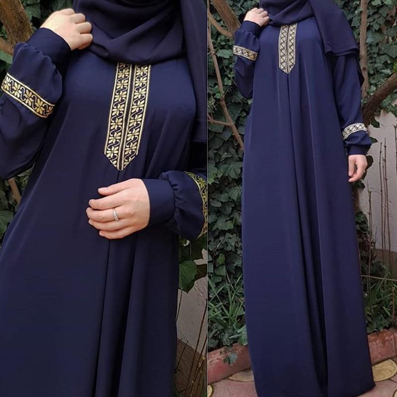 2020 New Women s Fashion Muslim Dress Vintage Islamic Loose Clothing Elegant Dubai Turkish Long Sleeve