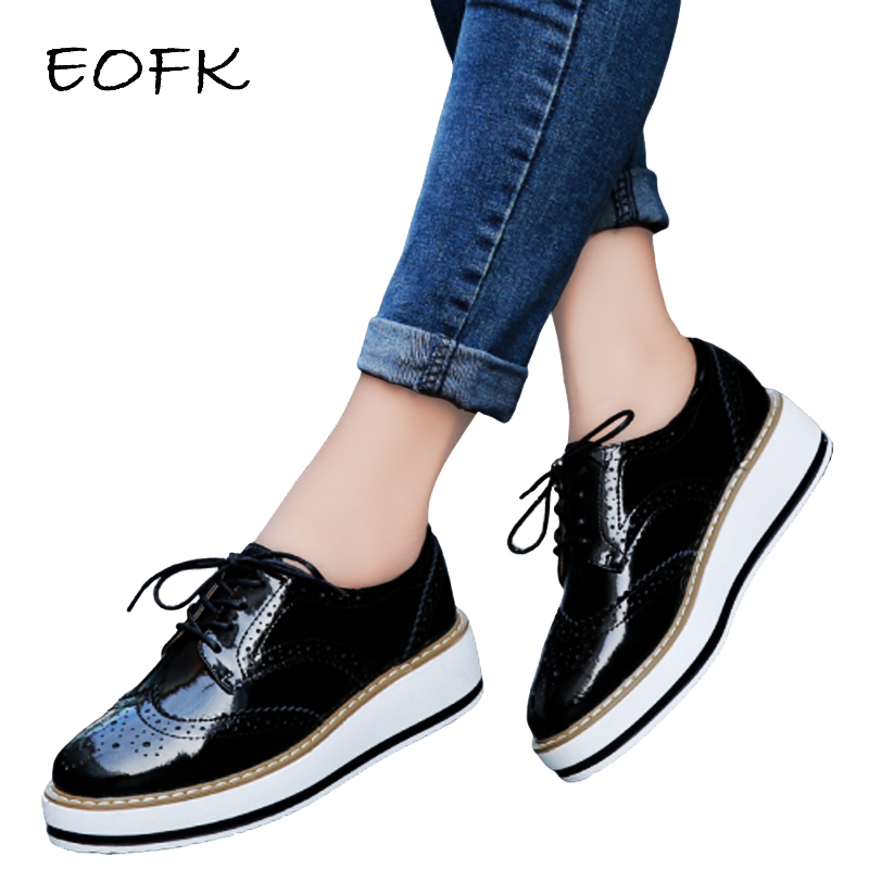 EOFK Autumn Women Platform Shoes Woman Brogue Derby Patent Leather Flats Lace Up Footwear Female Flat Oxford Shoes For Women