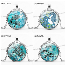 LKLRYWBD / Hot New Products Ocean World Marine Life Turtle Round Glass Pendant Necklace Jewelry
