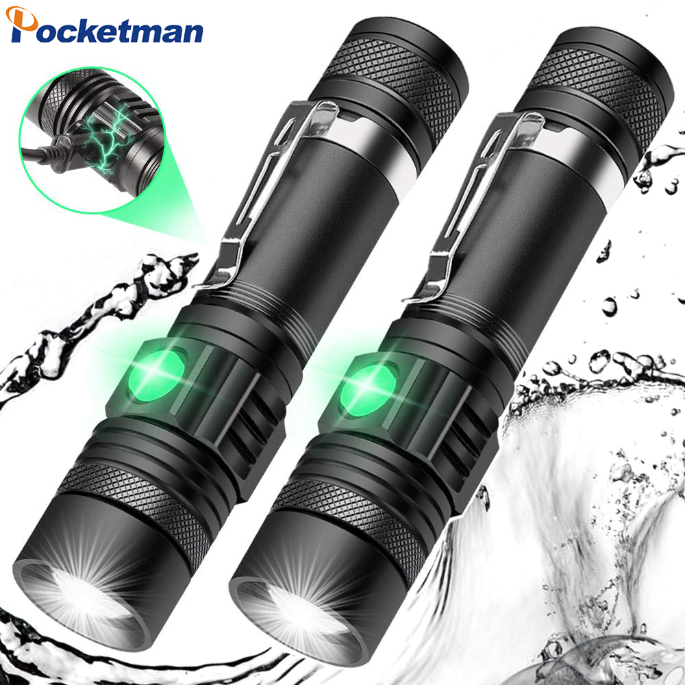 8000LM LED Flashlight Zoomable Torch USB Rechargeable LED Torch T6/L2/V6 Flashlight Use 18650 Rechargeable Battery