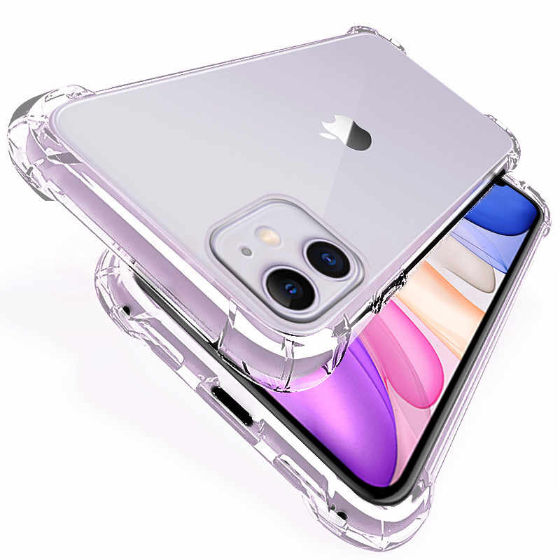 Luxe Schokbestendig Siliconen Telefoon Case Voor Iphone 11 Pro X Xr Xs Max 6 6S 7 8 Plus Case covers Transparante Bescherming Back Cover