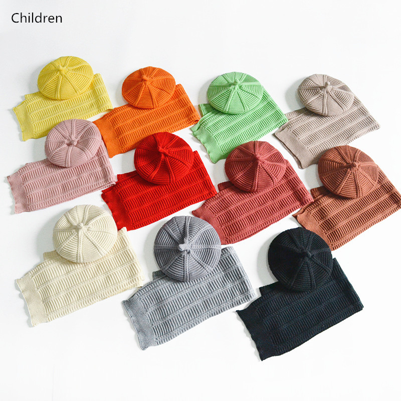 Hot! Fashion Baby Girls Boys Hat Scarf Set Winter Warm Kids Beret Hat Cap Woolen Yarn Knitted Hats Scarf Children Two Piece Set