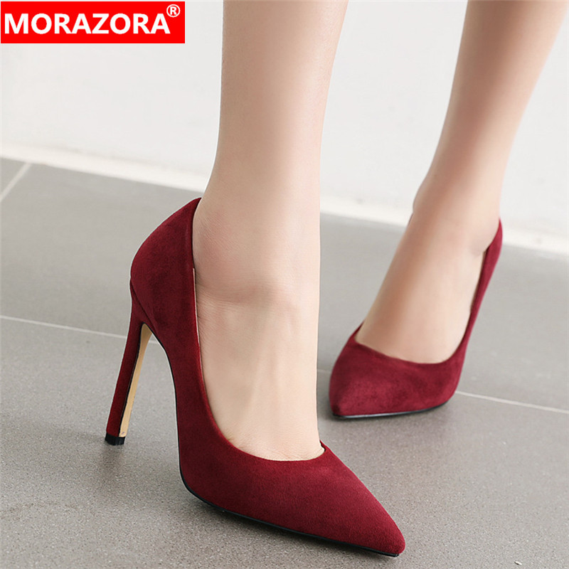 MORAZORA 2020 New Arrival Basic Women Pumps Pointed Toe Stiletto High Heels Sexy Party Wedding Shoes Woman Spring Summer Shoes