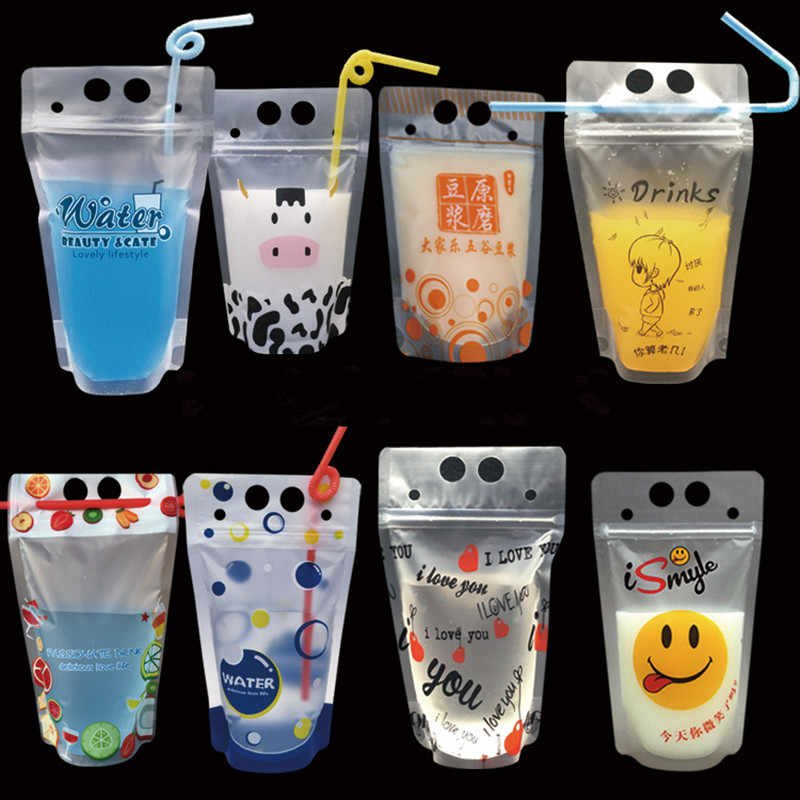 100pcs Transparent ziplock plastic stand up bag juice drink milk tea coffee packages with handle kitchen organizer sealing pouch