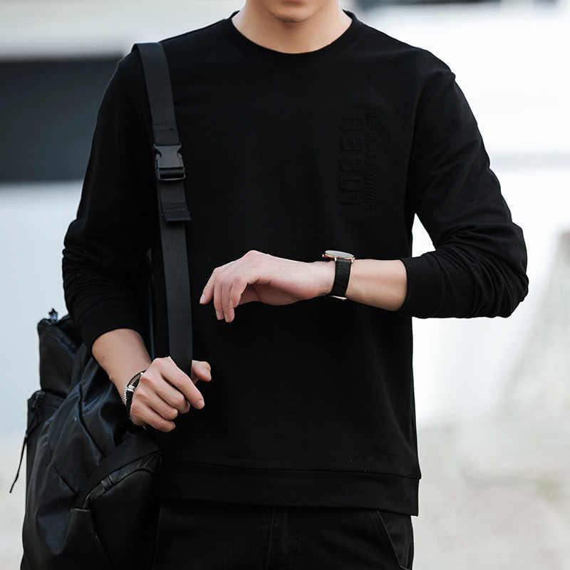 뜨거운 판매 봄 새로운 패션 남자 후드 성격 인쇄 남자 순수 컬러 풀 오버 후드 남자 레저 긴 소매 스웨터