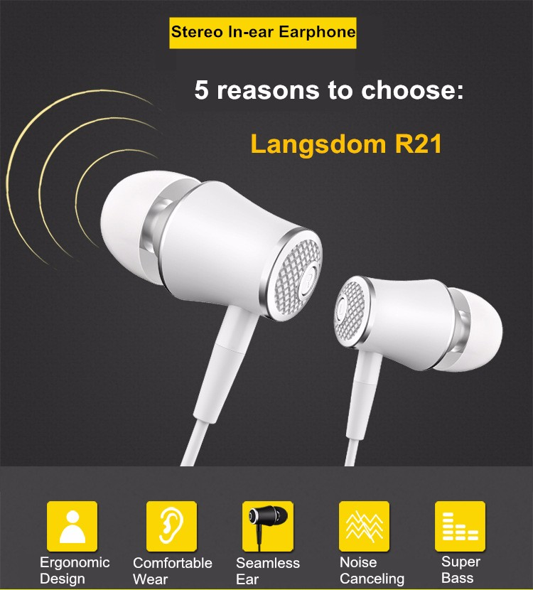 Langsdom Mini Wired In-ear R21 Earphone Portable Audifonos Super Bass Stereo Earphones With Microphone For Gaming Headset Sports