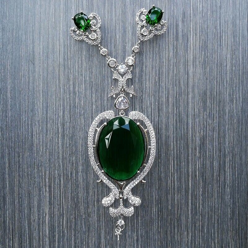 CP049 1 Pc 38x120mm Big Green CZ Micro Pave Pendant Charm Jewelry Pendant