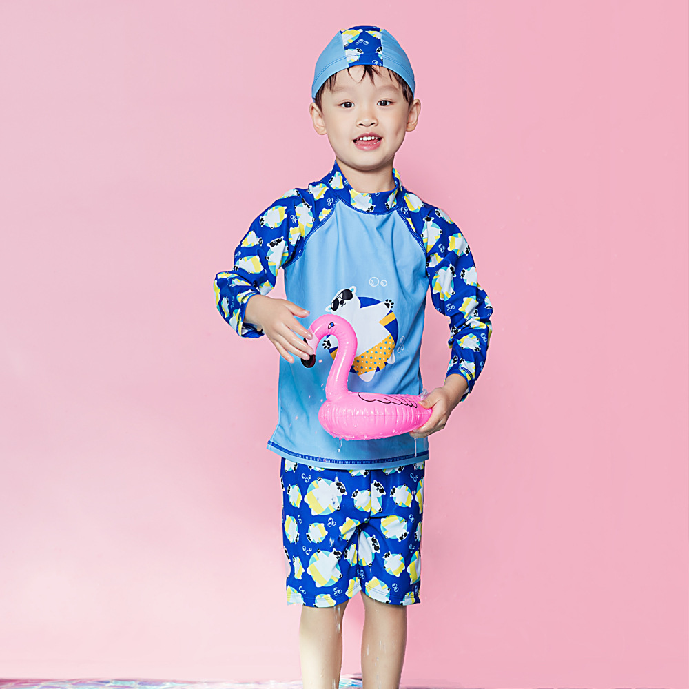 New Style Children Split Type Swimsuit Male Baby Bubble Hot Spring Swimsuit For Boys Handsome Cute Sports Olive Flower 2004
