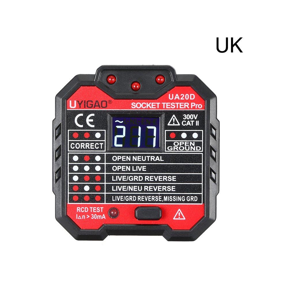 UYIGAO Portable Mini Digital Voltmeter Socket Tester Charger Detector Tester Voltage Tester Breaker Finder RCD Test UA20D|  - title=