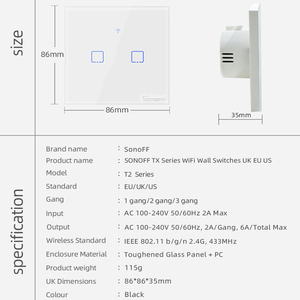 Image 5 - SONOFF T2 EU/UK 1/2/3 Gang Wifi Wall Panel Light Switch Socket 433mhz RF/Touch/eWelink Wireless Remote Control Google Home Alexa