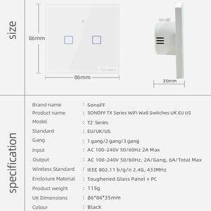 Image 5 - Sonoff T2 Eu/Uk 1/2/3 Gang Wifi Muur Panel Licht Schakelaar Socket 433 Mhz Rf/Touch/Ewelink Draadloze Afstandsbediening Google Home Alexa