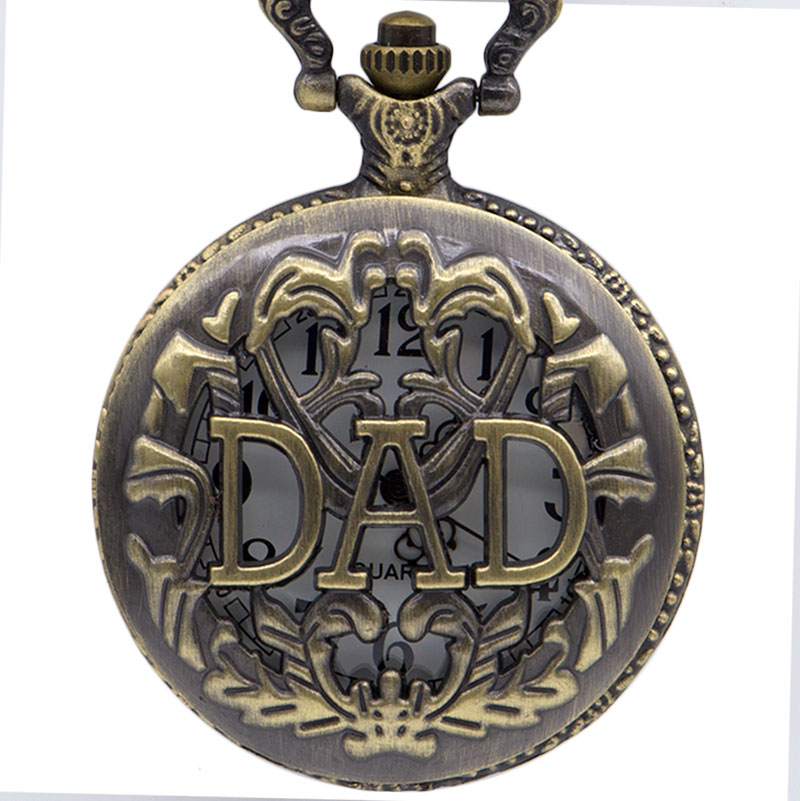 Best Gift For Father Hollow DAD Quartz Pocket Watch Men Father Necklace Pendant With Chain Father's Day Birthday Gifts Clock