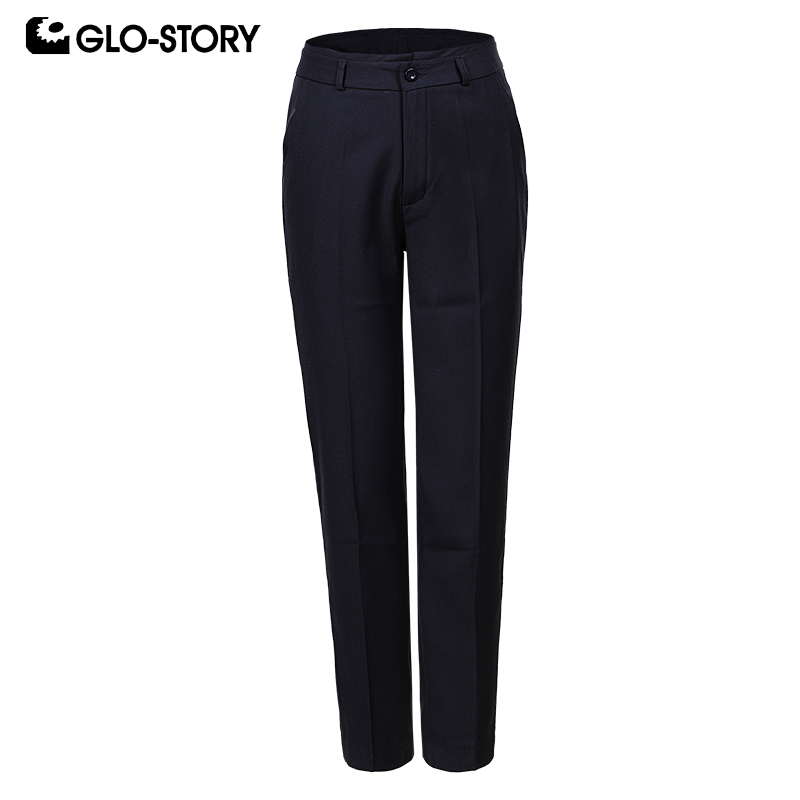GLO-STORY Casual Women Pants Work Wear Button Pocket Office Lady Trousers For Female 2019 Autumn New