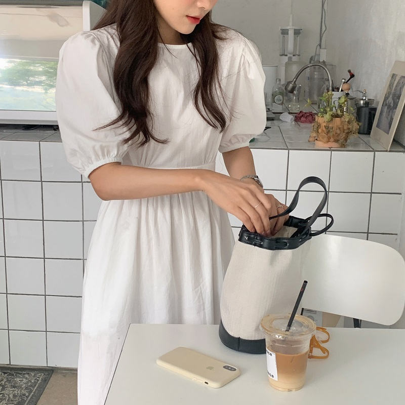 H9130f221f223421d97e29fada7251765U - Summer O-Neck Short Sleeves Elastic-Waist Calf Length Solid Dress