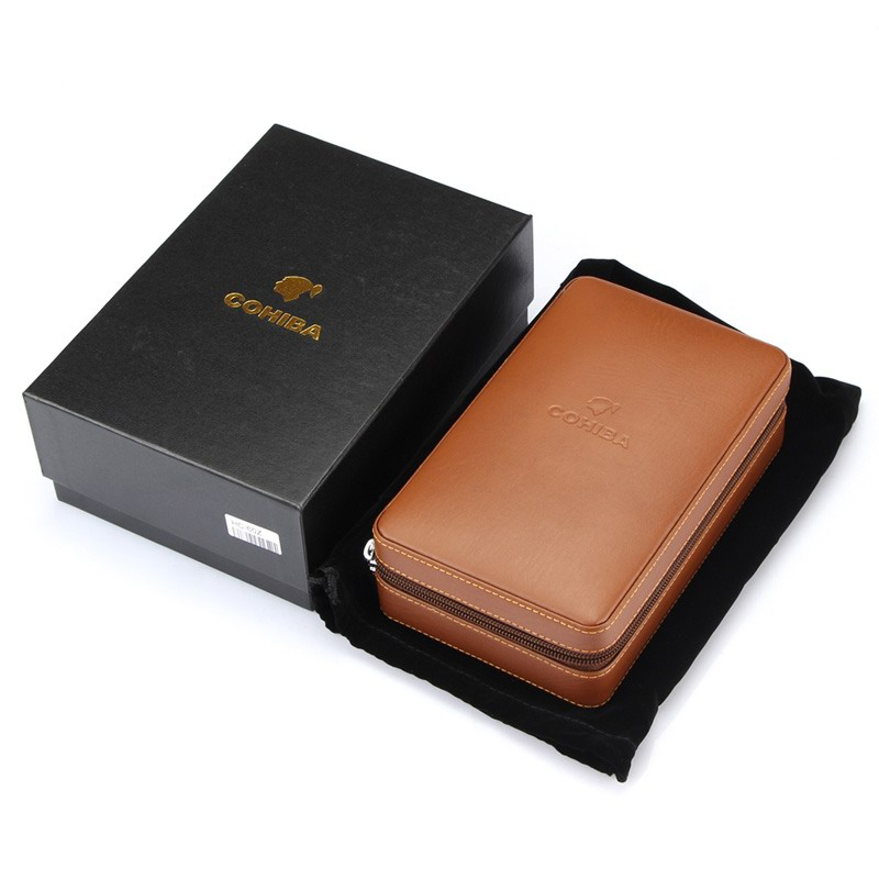 COHIBA Cedar Wood Cigar Humidor Travel Portable Leather Cigar Case Cigars Box With Lighter Cutter Humidifier Humidor Box