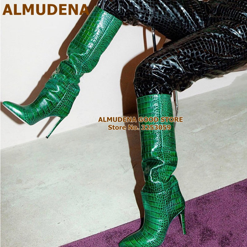 ALMUDENA Crocodile Pattern Knee High Boots Pointed Toe Stiletto Heel Boots Slip-on Runway Knight Boots Women High Heel Shoes
