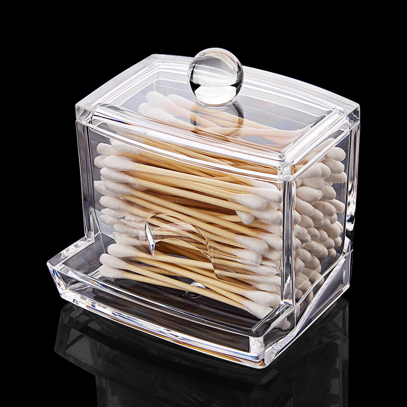 Transparent Acrylic Cotton Swabs Sticks Box Holder Cosmetic Storage Box Makeup Organizer Case Portable Cotton Pads Container|Makeup Organizers| |  - title=