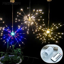 DIY Fireworks LED Lamp Starburst String Light Copper Wire Solar Panel Powered Fairy Outdoor Waterproof Xmas Explosion Wedding