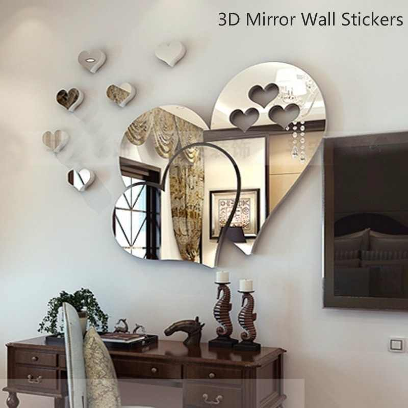 5 Colors 3D Mirror Heart Wall Decal Stickers Lovely DIY Home Art Mural Decoration Room