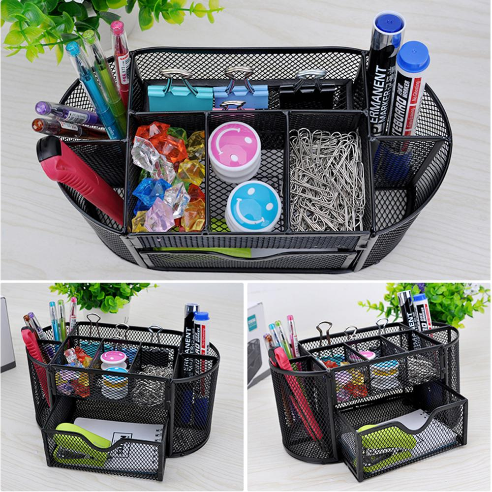 Multi-functional Desk Organizer 9 Storage Mesh Metal Pen Holder Stationery Container Box Office School Supplies Caddy Black
