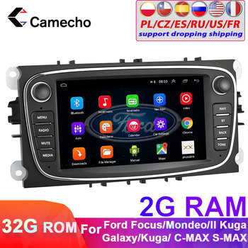 Camecho 2 din Android 8.1 For FORD Focus 2 II EXI MT 2 3 Mk2 Mondeo 9 S-MAX C-MAX Galaxy Car Radio GPS Multimedia Player 2G+32G image
