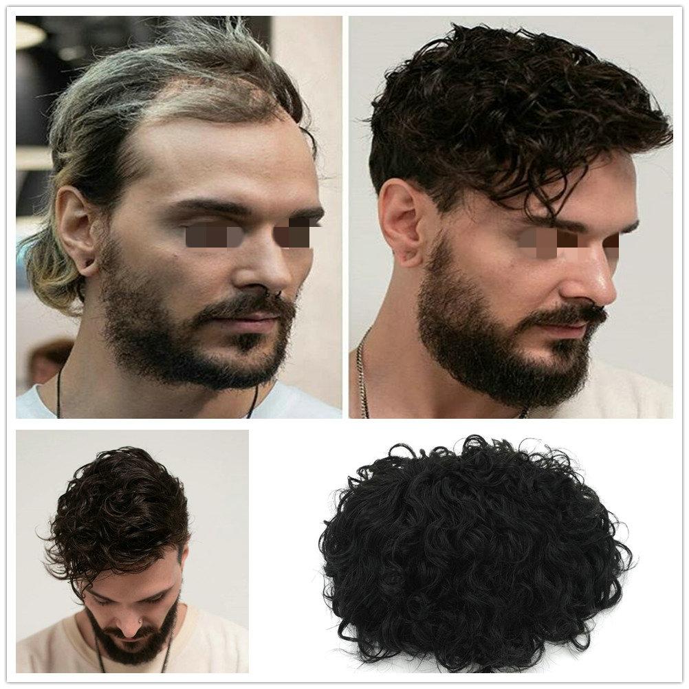 Hstonir Kinky Curl Hair Pieces Men Parrucchino Man Peruca Masculina Cabelo Humano Postizos Hombres Toupee H074