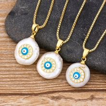 Cute Zircon Evil Eye Charm Natural Coin Freshwater Pearl Bead Gold Link Chain Pendant Choker Necklace for Women Jewelry Gift yikalaisi 2017 long multilayer pearl necklace natural freshwater pearl choker charm accessories statement necklace for women