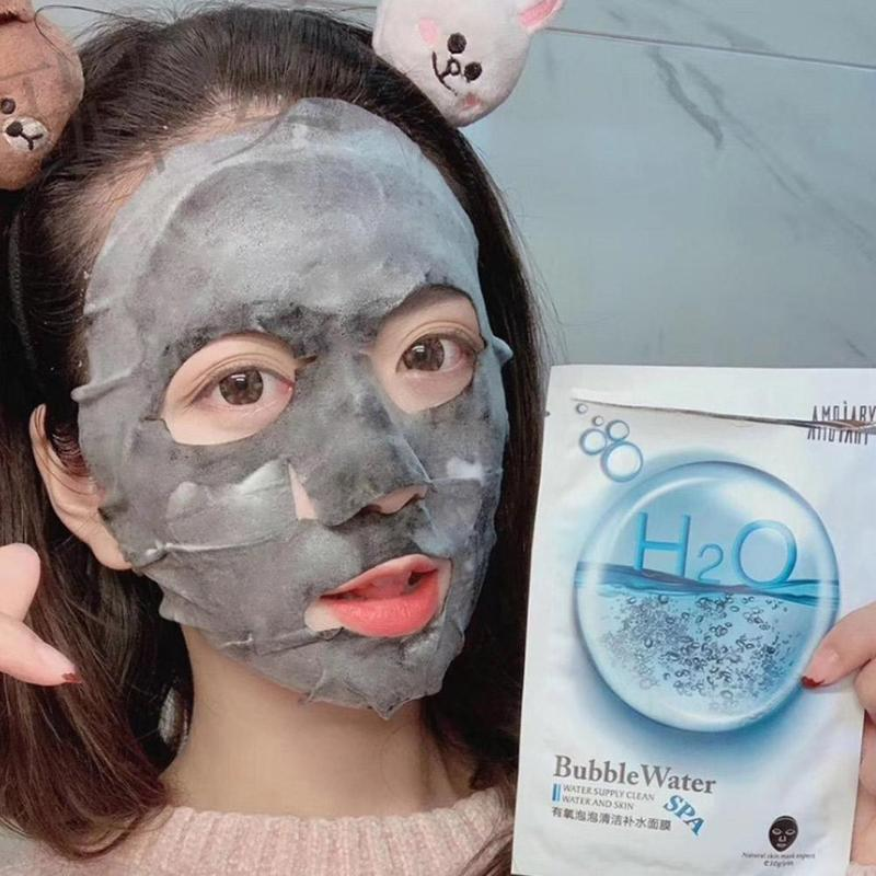 Detox Oxygen Bubble Sheet Facial Mask Korean Cleansing Mask Remove Dirt Blackhead Moisturizing Bamboo Charcoal Black Face Mask