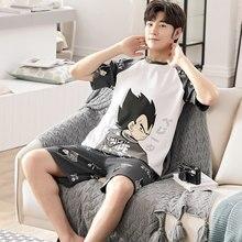 2021 novos conjuntos de pijama de verão para mulheres de algodão puro estilo japão casa usar pijamas de manga curta dos desenhos animados vegeta song