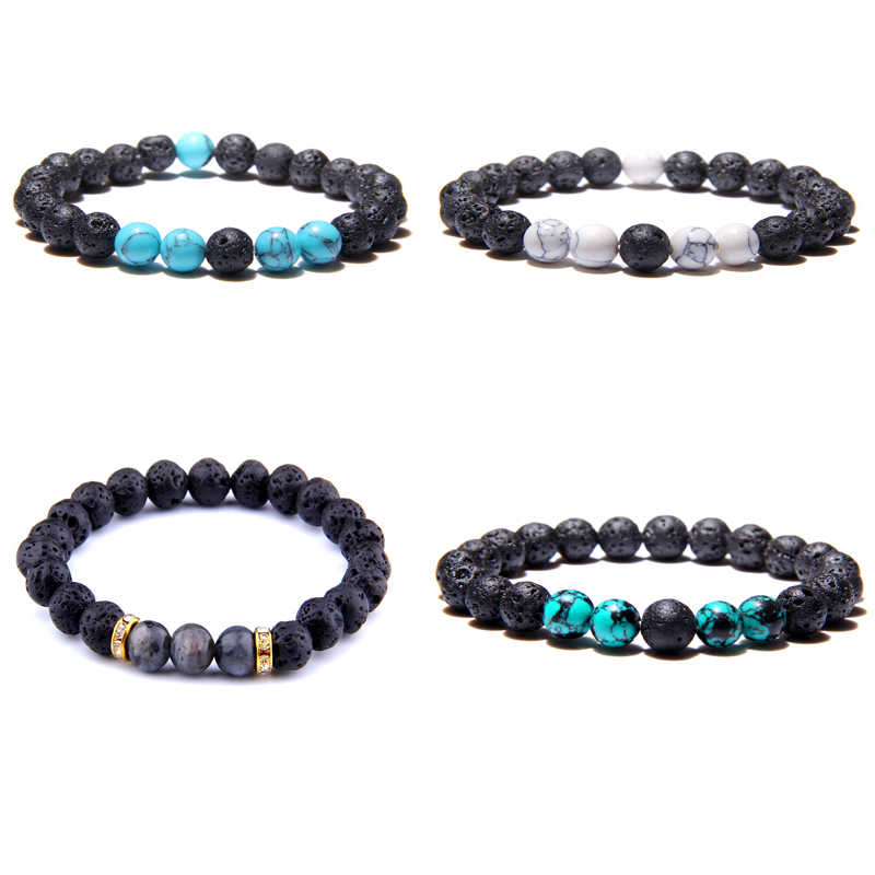 Vinswet Buddha Bracelet Homme Natural White Blue Beads Bracelet Women Men Lava Stone Bracelets Bangles Female Friendship Jewelry