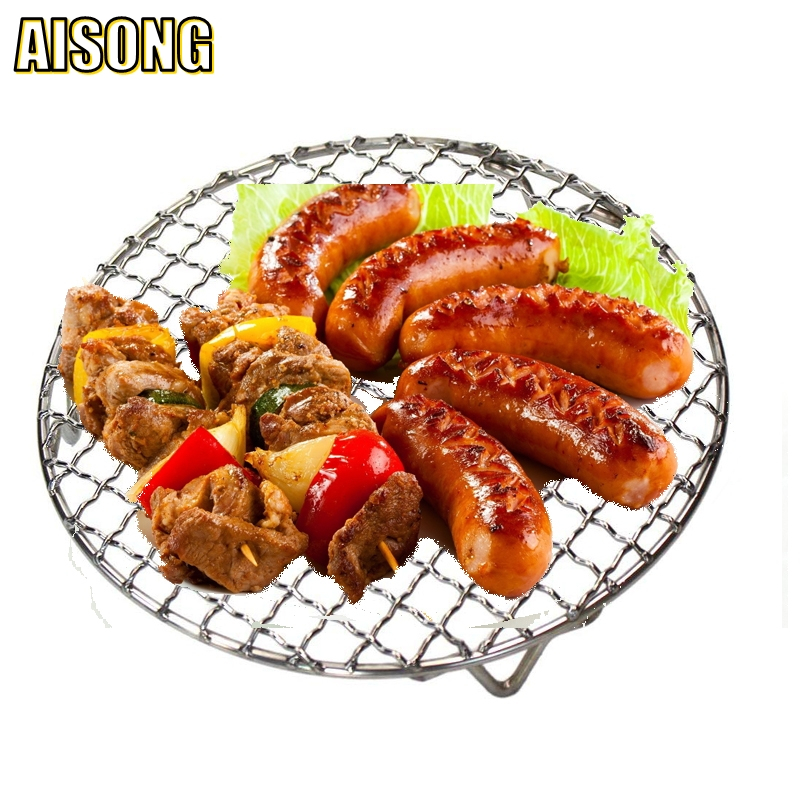 Air Frying Pan Barbecue Net Korean Type Eco-Friendly Stainless Round And Thicker Grill Net Grate Domestic Bbq Rack With Feet