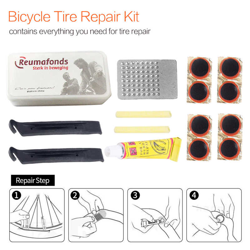 Mountainbike Fiets Reparatie Tools Fietsen Flat Tire Repair Rubber Patch Lijm Hendel Sets Emergency Band Fix Kit Gratis Verzending!
