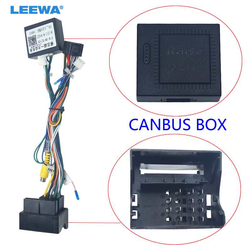 LEEWA Android Car Media Player Navi Radio CANBUS BOX Wire Harness For Volkswagen Golf 5/6/Polo/Passat/Jetta/Tiguan/Touran/Skoda